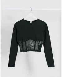 ASOS Long Sleeve Crop Top With Mesh Corset Detail - Black