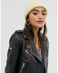 ASOS Fluffy Brushed Knitted Beanie Hat - Yellow