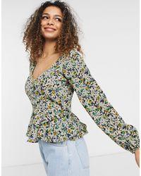 Brave Soul Блузка С Пышными Рукавами, Вырезом В Виде Сердечка И Мелким Цветочным Принтом Paris-многоцветный