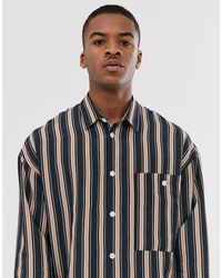 Noak Oversized Stripe Shirt With Camel Stripe - Natural