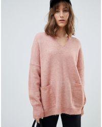 SELECTED V Neck Pocket Sweater - Pink
