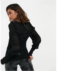 Morgan Knitted Top With Back Button Detail - Black