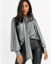 Y.A.S Metallic Tie Neck Top With Puff Sleeves