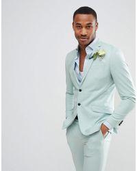 Jack & Jones - Premium Skinny Suit Jacket In Dusty Green - Lyst