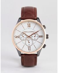 ASOS Watch With Mixed Metal Finish And Croc Strap - Brown