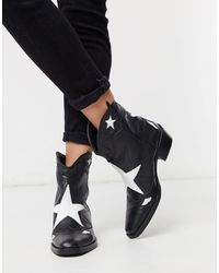 Pull&Bear Leather Star Western Boots - Black
