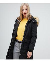 Warehouse - Longline Padded Coat In Black - Lyst