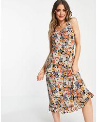 Oasis Warehouse - Vestito midi a fiori multicolore con volant sulle maniche