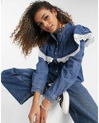 Object Denim Shirt With Ruffle Detail - Blue