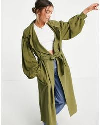 ASOS Oversized Linen Trench Coat With Sleeve Detail - Green
