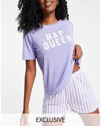 Pieces Exclusive 'nap Queen' Pyjama Set - Purple