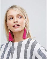 South Beach - Bright Pink Tassel Drop Statement Earrings () - Lyst