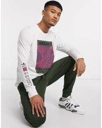 adidas Originals Long Sleeve T-shirt With Adventure Print - White