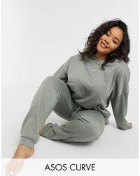 ASOS Asos Design Curve Basic Sweatshirt & Joggers Set - Green