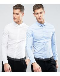 70326a2b7 ASOS Skinny Shirt In Navy With Black Tie Save 15% in Blue for Men - Lyst