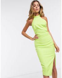 Lavish Alice Платье Миди С Открытой Спиной И Бретелью Через Шею -зеленый