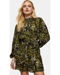 TOPSHOP - Зеленое Платье-рубашка С Оборками И Леопардовым Принтом -зеленый Цвет - Lyst