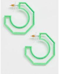 ASOS Créoles à bordure vert fluo