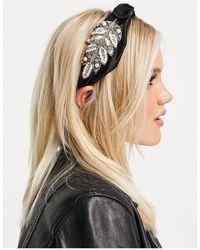 Miss Selfridge Leaf Embellishment Headband - Black