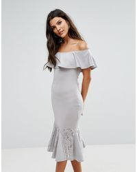 AX Paris - Bardot Dress With Lace Pephem - Lyst