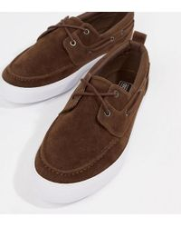 d4d540834f9 ASOS - Wide Fit Boat Shoes In Brown Faux Suede - Lyst