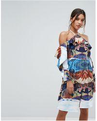 Aeryne Cold Shoulder Printed Midi Dress With Thigh Split - Blue