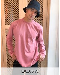Reclaimed (vintage) Inspired - T-shirt manches longues avec poche - Rose