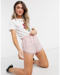 Miss Selfridge Lace Trim Shorts - Pink