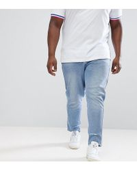ASOS DESIGN - Plus Skinny Twisted Seam Jeans In Light Wash Blue With Abrasions - Lyst