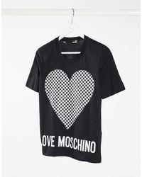 Love Moschino Черная Футболка С Логотипом И Принтом В Виде Сердца С Узором «шахматная Доска» -черный