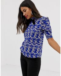 Vila - Printed High Neck Blouse With Bow - Lyst