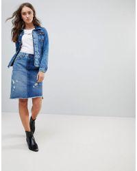 Pepe Jeans Contrast Denim Chewed Skirt - Blue