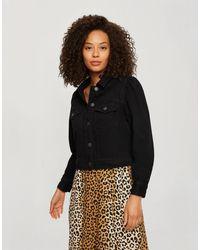 Miss Selfridge Denim Jacket With Puff Sleeves - Black