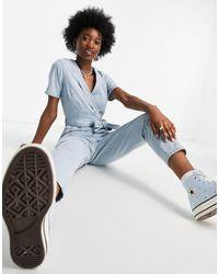 Miss Selfridge Tuta jumpsuit di jeans avvolgente blu