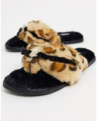 River Island Chaussons en fausse fourrure léopard avec perles - Noir