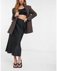 ASOS Satin Bias Slip Midi Skirt - Black