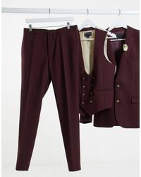 ASOS Wedding Super Skinny Wool Mix Suit Pant - Purple