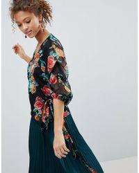 Miss Selfridge - Floral Print Wrap Front Blouse - Lyst