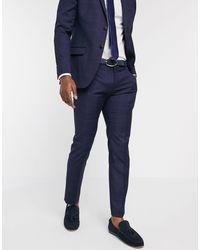 Ben Sherman Groot Geruite Slim-fit Pantalon - Blauw