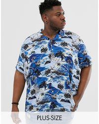 Jacamo Revere Collar Shirt With Palm Tree Print - Blue