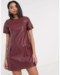 River Island Faux Leather Shift Dress - Red