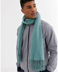 ASOS Bufanda tipo manta en verde azulado con borlas