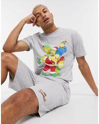 ASOS – Weihnachtliches Pyjama-Set mit Lounge-Shorts und T-Shirt mit The Simpsons -Print - Grau