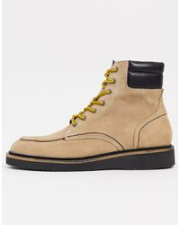 SELECTED Premium Suede Hiking Boots With Contrast Laces - Multicolour