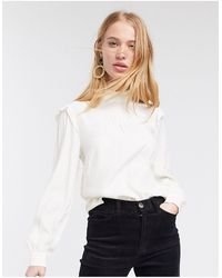 Warehouse Blouse With Frills - White