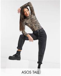 ASOS ASOS DESIGN Tall - Bodysuit accollato con arricciatura sul davanti leopardato - Multicolore