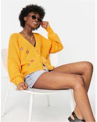 Daisy Street – Oversize-Strickjacke mit Gänseblümchen-Stickerei, Kombiteil - Gelb
