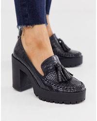 London Rebel Platformschoenen Met Dikke Zool En Zwarte Krokodillenprint