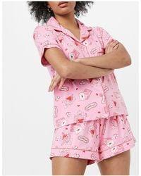Chelsea Peers Valentines Letter Print Shirt And Shorts Pyjama Set - Pink