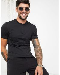 River Island Knitted Tee With Zip - Black